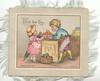 WITH  FOND LOVE  boy & girl stand in kitchen with box & basket of fruit