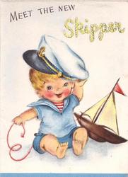 MEET THE NEW SKIPPER baby in seafarer's outfit
