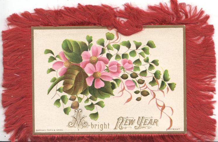 A BRIGHT NEW YEAR, pink clematis, maidenhair fern, cream background