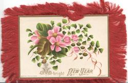 A BRIGHT NEW YEAR, pink clematis, maidenhair fern, cream background