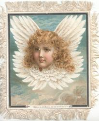 SHEILD YE, FAIR ANGELS, ONE WHO IS YOUR KIN at base, angel head with wings
