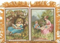 BRIGHT BE THIS DAY; OF PROMISE FULL THY YEARS mother & child sit on wooden bench in  the country