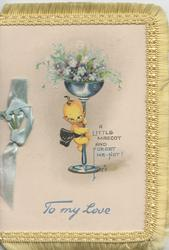 A LITTLE MASCOT AND FORGET ME-NOTS, in blue below, Japanese imp climbing up glass of forget-me-nots