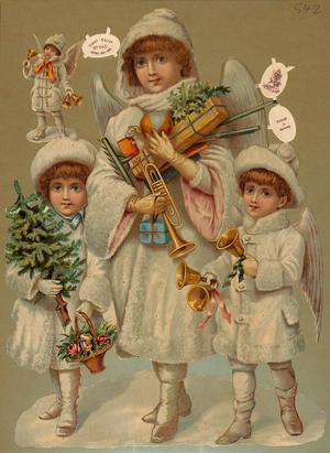 children as angels carrying gifts and ringing bells