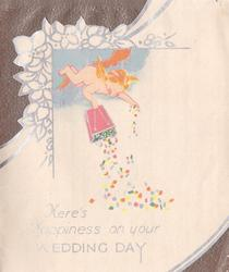 HERE'S HAPPINESS ON YOUR WEDDING DAY angels tips box of confetti from clouds, below die-cut floral flap