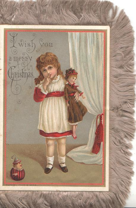 I WISH YOU A MERRY CHRISTMAS front panel girls in white carries doll, finger to lip