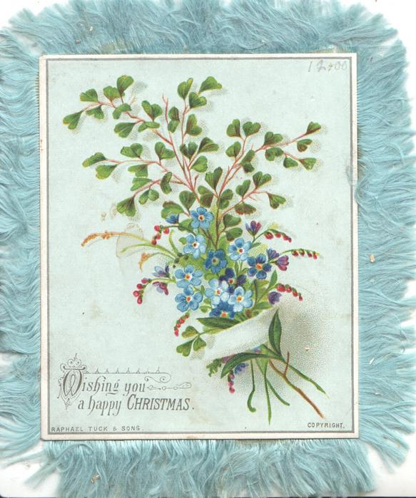 WISHING YOU A HAPPY CHRISTMAS forget-me-nots, maidenhair fern