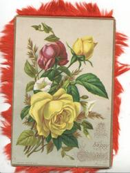 A HAPPY CHRISTMAS red & yellow roses