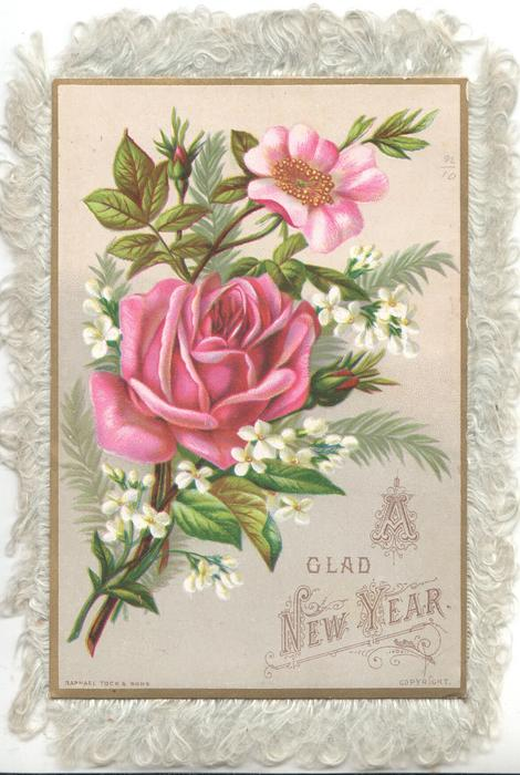 A GLAD NEW YEAR pink roses, white clematis