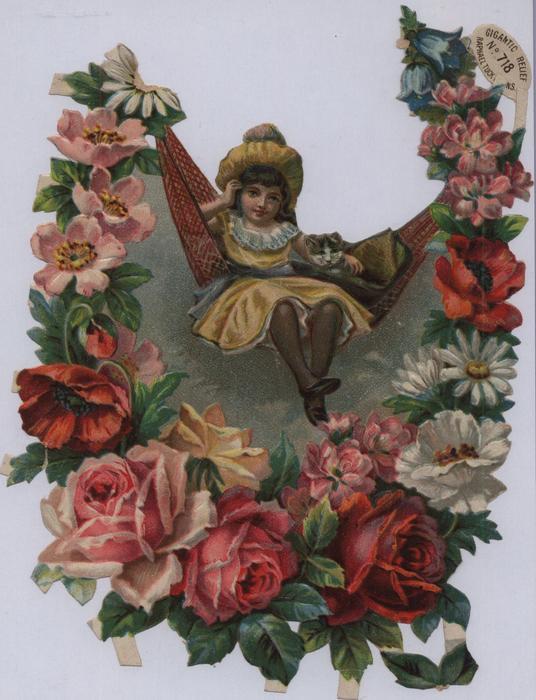 girl in hammock, floral design border