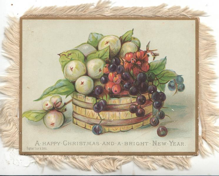 A HAPPY CHRISTMAS AND A BRIGHT NEW YEAR green, black & red snowberries overflowing from wooden bowl