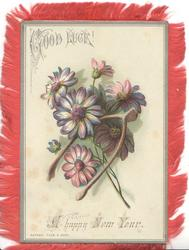 A HAPPY NEW YEAR below GOOD LUCK & purple daisies & fork