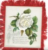 A BLESSED CHRISTMASTIDE single white rose, buds, verse