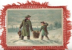 untitled, man  & child walk away in snow carrying pheasant & Christmas basket, glittered