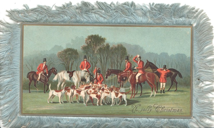 A JOLLY CHRISTMAS riders & foxhounds gather for the hunt