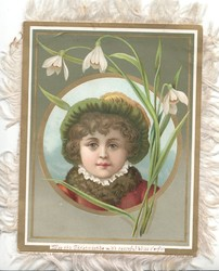 MAY THIS CHRISTMASTIDE WITH PEACEFUL BLISS O'ERFLO inset head & shoulders of girl, snowdrops