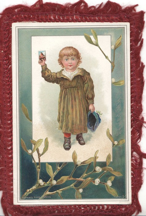 A HAPPY CHRISTMAS vertically right, inset girl stand holdng up card in her right hand, hat in left, mistletoe below