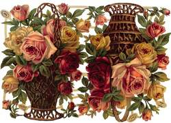 roses in baskets