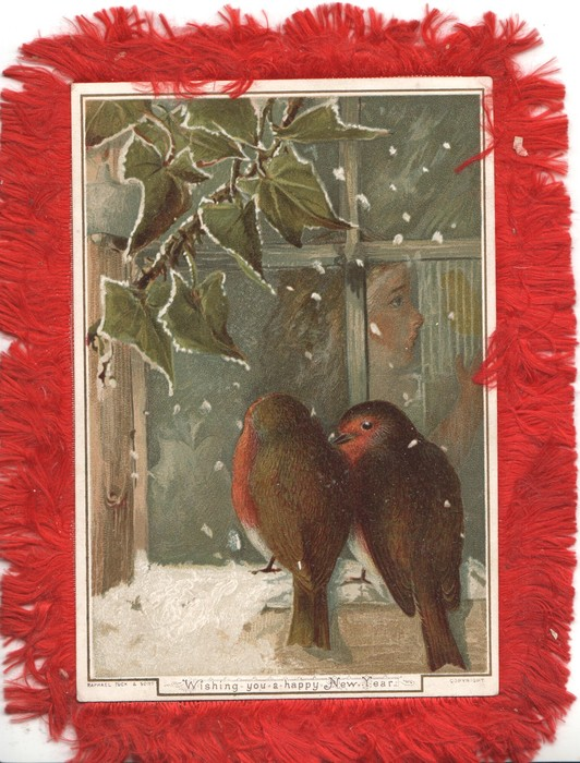 A MERRY CHRISTMAS TO YOU English robin perched on fence, snowy field behind