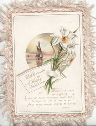 WITH BEST WISHES FOR A HAPPY CHRISTMAS on note attached to bunch of daffodils, seascape inset