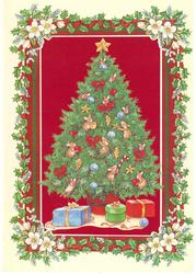 no front title, mice decorate Christmas tree, holly border