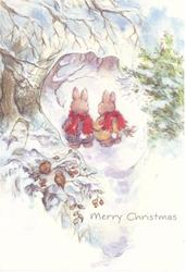 MERRY CHRISTMAS perforated window shows 2 dressed rabbits walking away in snow, 2 small birds in tree snowy tree front