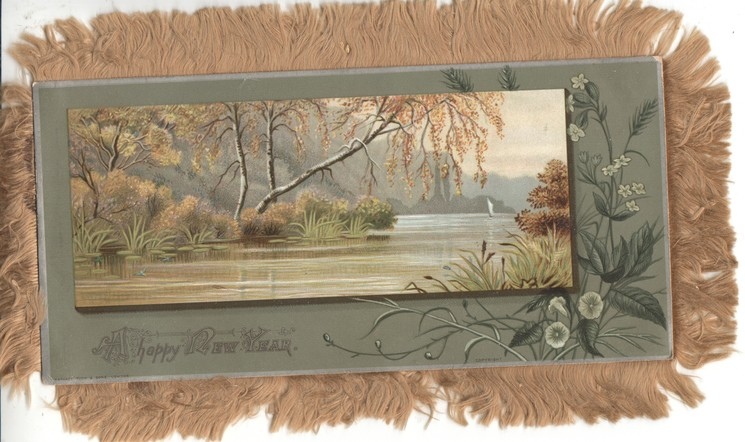 A HAPPY CHRISTMASTIDE inset rural scene bushes & trees above & around lake,man fishing from boat