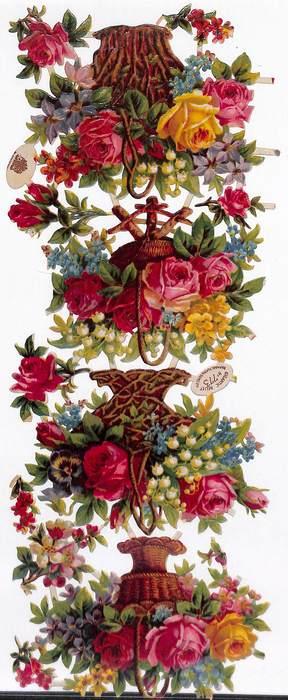 flowers in wicker baskets