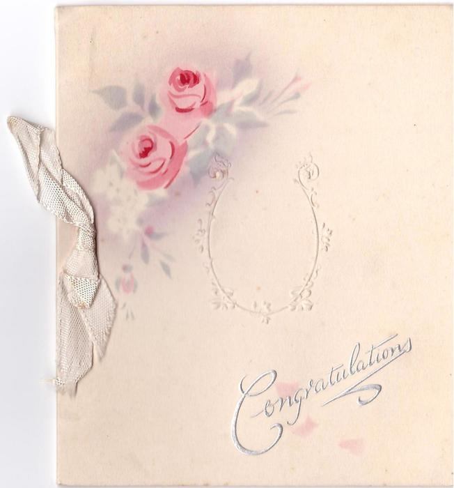 CONGRATULATIONS silvered below pink stenciled roses & embossed filigree horseshoe