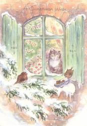 A CHRISTMAS WISH cat looks out window at 2 small birds on snowy evergreen branch