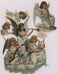 angels singing with musical instruments