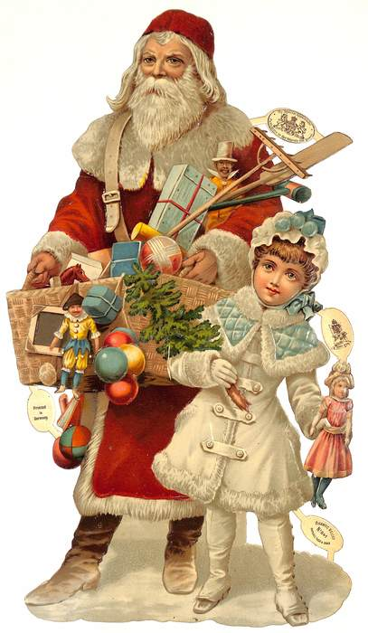 Santa and young girl with toys