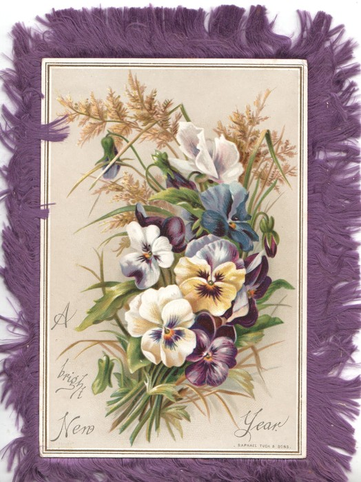 A BRIGHT NEW YEAR, pansies & golden rod