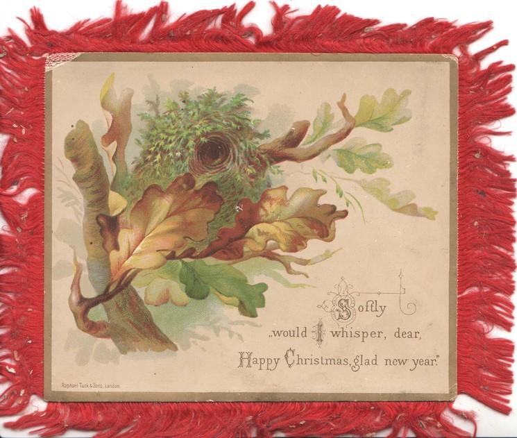 SOFTLY WOULD I WHISPER, DEAR, HAPPY CHRISTMAS, GLAD NEW YEAR  bird's nest in oak tree