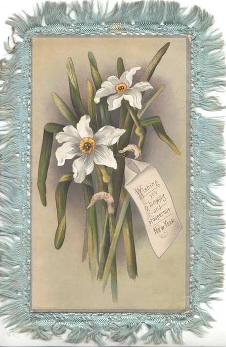 WISHING YOU A HAPPY AND PROSPEROUS NEW YEAR on note attached to bunch of daffodils, olive background
