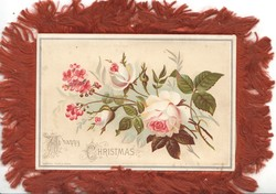 A HAPPY CHRISTMAS below pink roses & pink dianthus