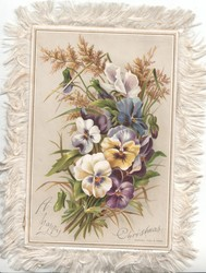 A HAPPY CHRISTMAS in silver below multicoloured pansies & golden rod right, apple blossom