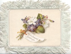 WITH THE SEASON'S GREETINGS on note attached to bunch of white & violet cyclamen