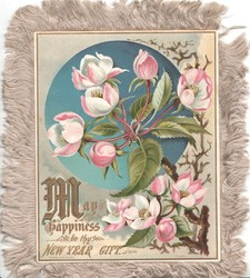 MAY HAPPINESS BE THY NEW YEAR GIFT (illuminated) apple blossom in front of blue inset