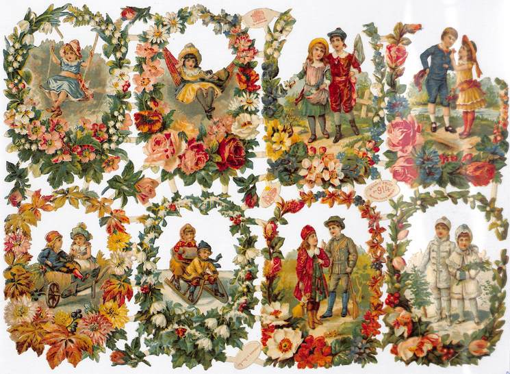 children at play within floral border