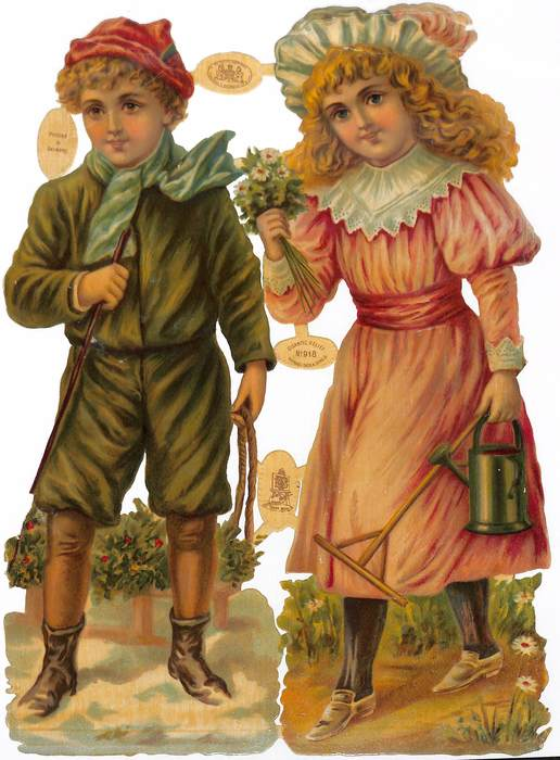 girl with watering can walks, boy pulls sled of holly