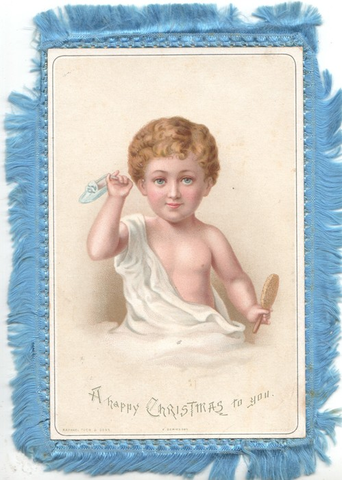 A HAPPY CHRISTMAS TO YOU young boy holds mirror with one hand & shoe in the other, partly dressed