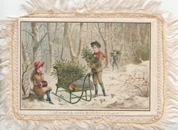 A GLAD NEW YEAR 2 boys & a girl gather hollly & mistletoe in snowy wood