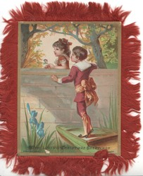 A HAPPY CHRISTMAS AND A BRIGHT NEW YEAR  boy in red on ladder gives flowers to girl the other side of wall