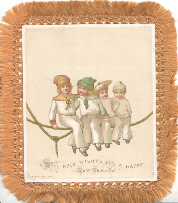 WITH BEST WISHES FOR A HAPPY NEW YEAR 4 children sit on rope