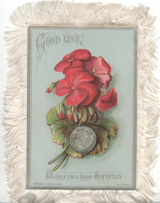 GOOD LUCK above red geraniums & SIX PENCE silver coin, WISHING YOU A HAPPY BIRTHDAY, blue background