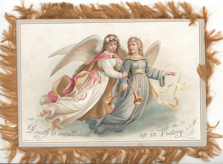 DEATH IS SWALLOWED UP IN VICTORY  angels fly right carrying gilt trumpets