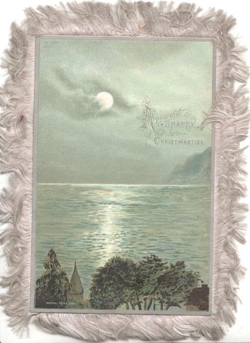 A PEACEFUL HAPPY CHRISTMASTIDE moonlit seascape, trees & steeple at base