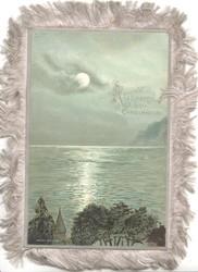 A PEACEFUL HAPPY CHRISTMASTIDE moonlit seascape, trees & steeple at base