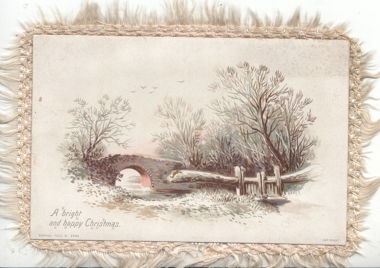 A BRIGHT AND HAPPY CHRISTMAS snow scene, stone bridge over stream, many trees
